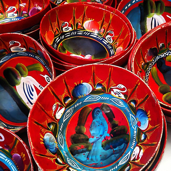 Colorful bowls for drinking tejate (traditional cacao drink) at Tlacolula Sunday market. #oaxaca #mexico