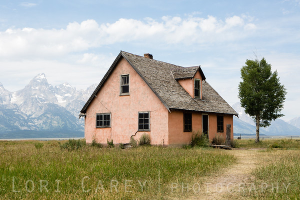 The Pink House at the John Moulton Homestead, Mormon Row, Grand Teton National Park, Wyoming