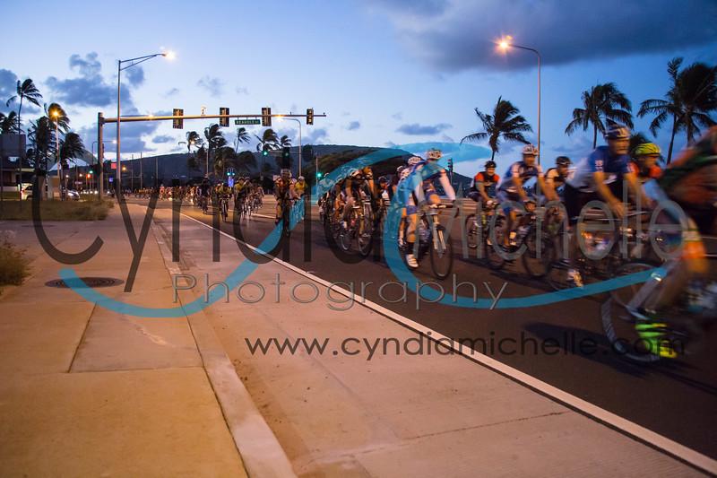 Cyclists riding through Hawaii Kai during the Dick Evans Memorial Bike Race on September 1, 2013.