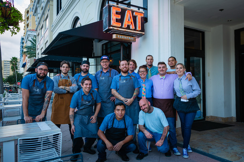The Sassafras staff pose outside the restaurant, located at 105 S Narcissus Ave., West Palm Beach, FL, on Friday, November 22, 2019. [JOSEPH FORZANO/palmbeachpost.com]