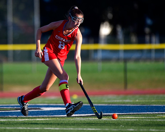 10/15/2019 Mike Orazzi | StaffrConard High Schools Caroline Kumpa r(8) during a 2-2 tie in field hockey action with Southington High School in Southington on Tuesday afternoon.