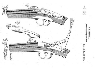 20,954 RE 1159- Improvement in Firearms, assigned to the Merrill Patent Firearms Mfg Co (March 26, 1861)