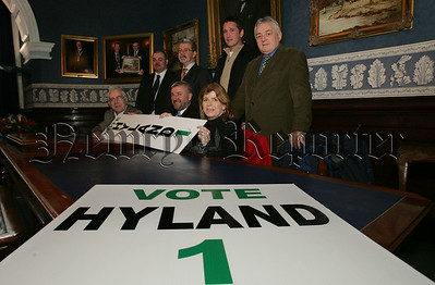 Pictured at the launch of Davy Hyland's election manifesto in Newry Town hall are, Martin Connolly, Pat McNamee, Sean McGuinness, John Kelly, Jim McAllister, Davy Hyland and Kate Hillen. 07W8N3