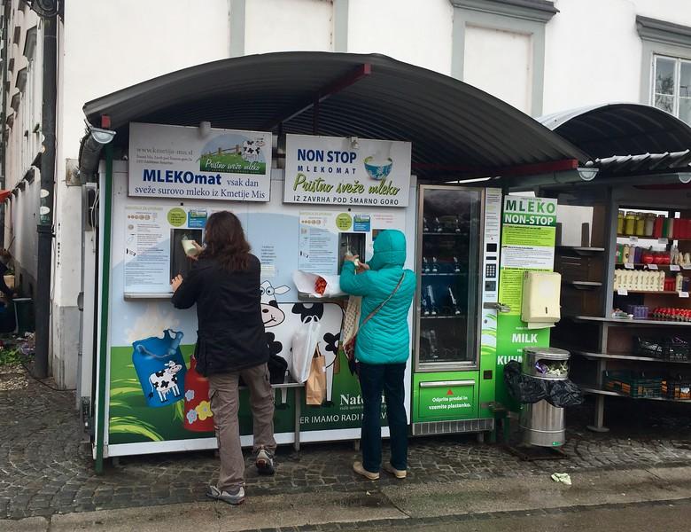 Fill a milk jug from the fresh farm milk vending machine for just 1 euro!