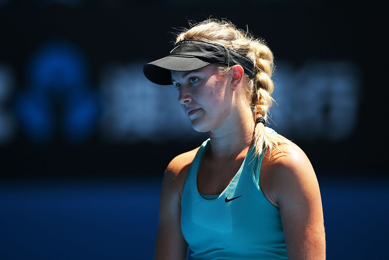 . Eugenie Bouchard of Canada looks on in her semifinal match against Na Li of China during day 11 of the 2014 Australian Open at Melbourne Park on January 23, 2014 in Melbourne, Australia.  (Photo by Mark Kolbe/Getty Images)