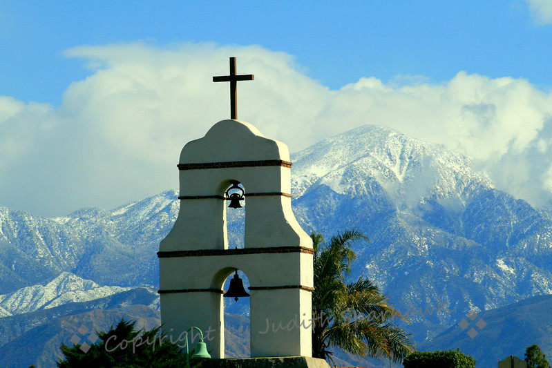 Asistencia Mission in Winter ~ This bell tower  is part of a small mission in Redlands, which was orignially an adjunct of the San Gabriel Mission, one of the original California missions.  It remains a historic icon of the Redlands area.
