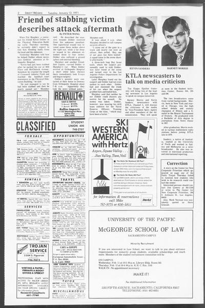 Daily Trojan, Vol. 62, No. 62, January 12, 1971
