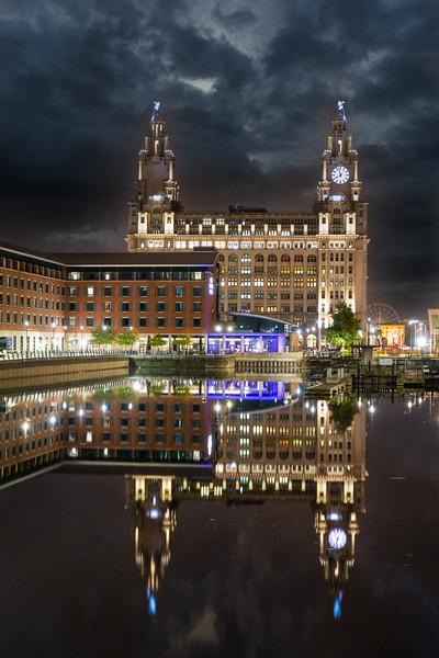 A Rainy Princes Dock, Liverpool at Night