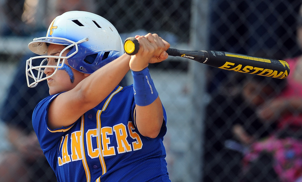 . Bishop Amat\'s Miranda Larios in the first inning of a prep softball game against Santiago at Bishop Amat High School on Wednesday, March 27, 2013 in La Puente, Calif. Bishop Amat won 5-3.  (Keith Birmingham Pasadena Star-News)