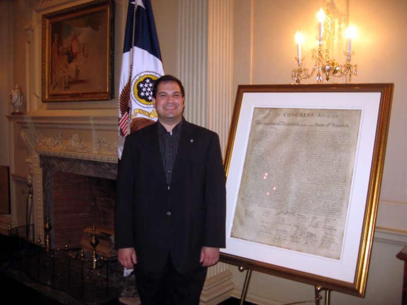 Craig with one of the 31 remaining prints made in 1823 from the original Declaration of Independence