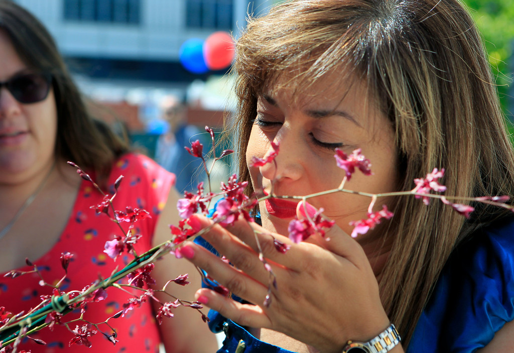 . Itza Garcia smells an Oncidium flower from Rosemae Orchids at the new Santa Clara Valley Medical Center Farmer\'s Market in San Jose, Calif. on Wednesday, May 15, 2013.  (LiPo Ching/Bay Area News Group)