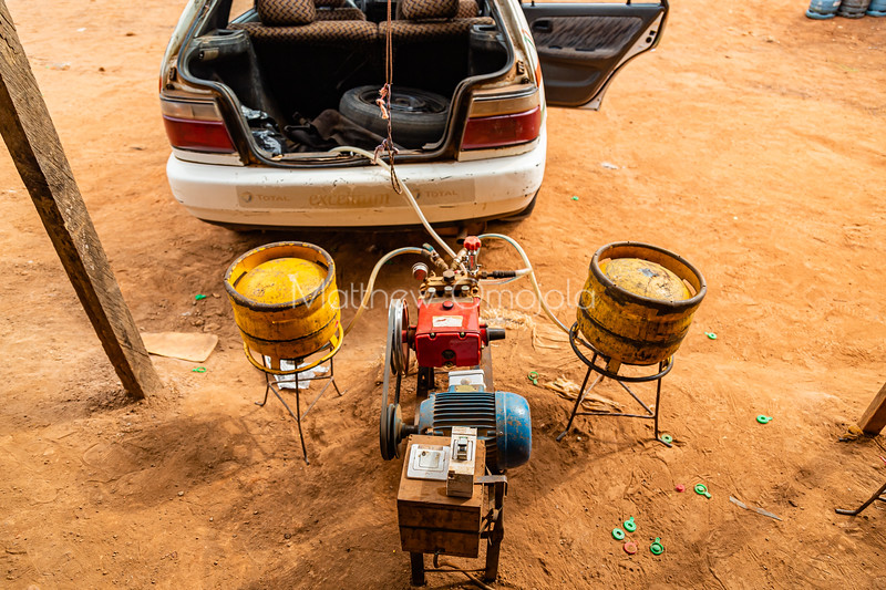 Gas filling station in Yamoussoukro for replenishing gas powered taxi in Yamoussoukro Ivory Coast Cote d'Ivoire.
