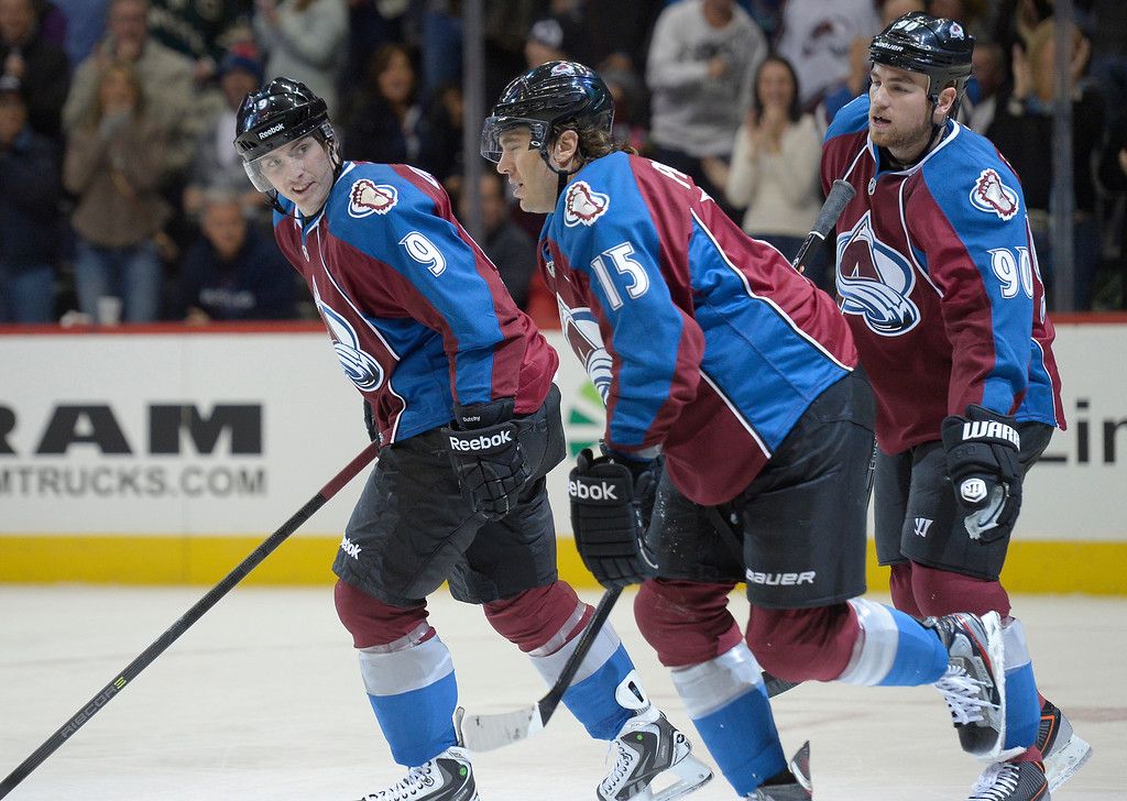 . Colorado Avalanche center Matt Duchene (9) smiles as yea skates off after Colorado Avalanche right wing P.A. Parenteau (15) scored in the first period against the Nashville Predators November 6, 2013 at Pepsi Center. (Photo by John Leyba/The Denver Post)