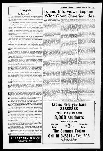 Summer Trojan, Vol. 10, No. 4, June 30, 1960