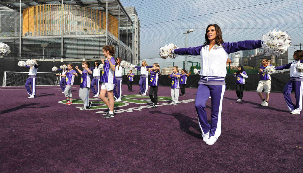 . Minnesota Vikings cheerleaders put on a cheerleading clinic at Wembley Stadium in London Tuesday. (NFL: Sean Ryan)