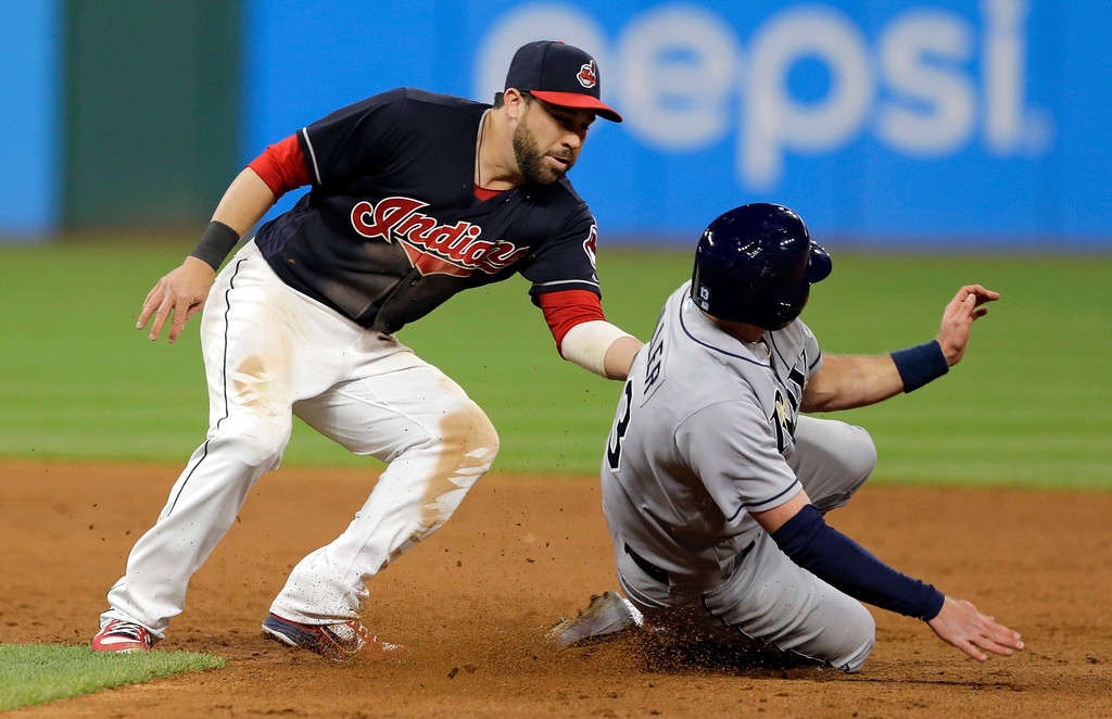 . Cleveland Indians\' Jason Kipnis tags out Tampa Bay Rays\' Brad Miller at second base in the eighth inning of a baseball game, Monday, May 15, 2017, in Cleveland. (AP Photo/Tony Dejak)