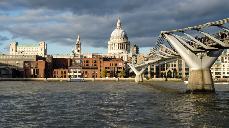 Autumn sunshine on St Paul's and Millennium Bridge