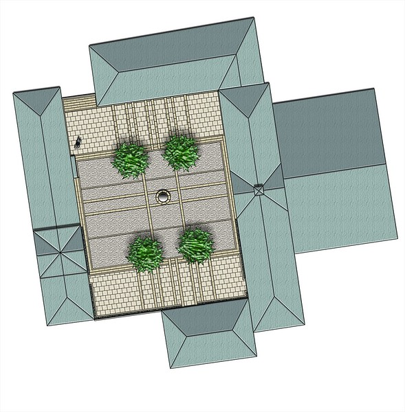 Geometric concept idea presented to the client using resin bound gravel and glass surfacing, with stainless steel spherical water feature and large containers to hold proposed trees.
