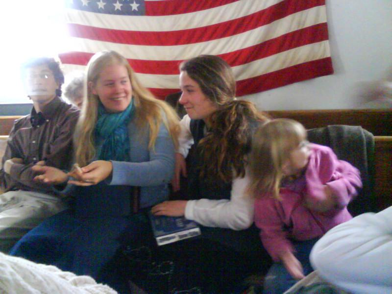 In the schoolhouse, goofing off between songs