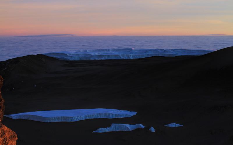 Glaciers at sunrise