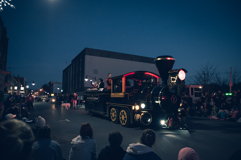 The Boilermaker Special makes a trip down Main Street in the Lafayette Christmas Parade