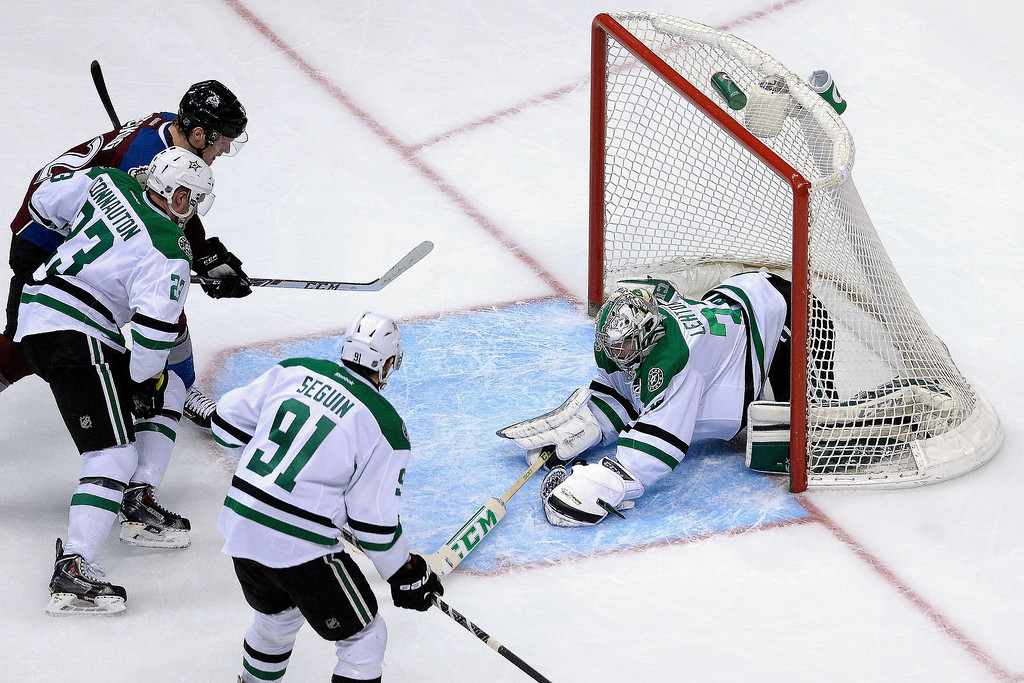 . Dallas Stars goalie Kari Lehtonen (32) stops a goal agains the Colorado Avalanche during the second period.   (Photo by AAron Ontiveroz/The Denver Post)