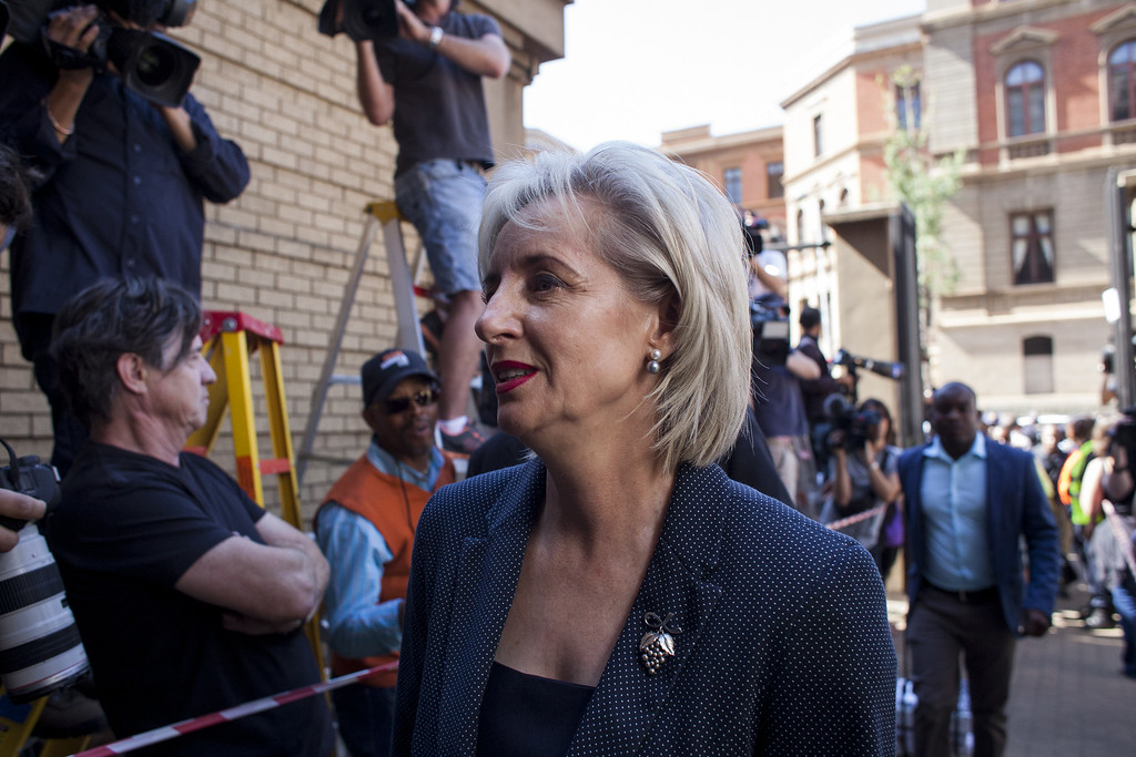 . Lois Pistorius, aunt of Oscar, arrives at the North Gauteng High Court for the sentencing of Oscar Pistorius on October 21, 2014 in Pretoria, South Africa. (Photo by Charlie Shoemaker/Getty Images)