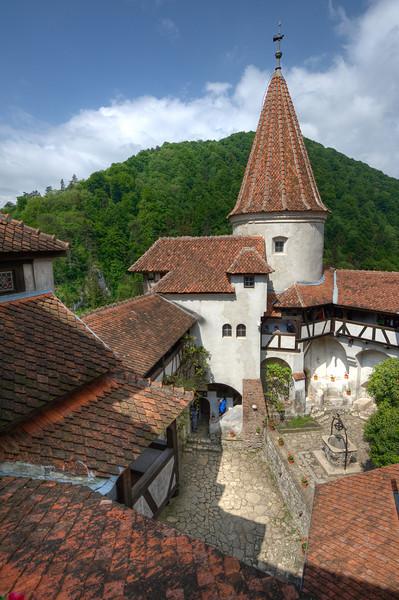 Inside the Bran Castle complex in Sighisoara, Romania