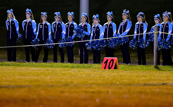 11/27/2019 Mike Orazzi | Staff Oxford High School cheerleaders during Wednesday night's football game with St. Paul in Bristol.