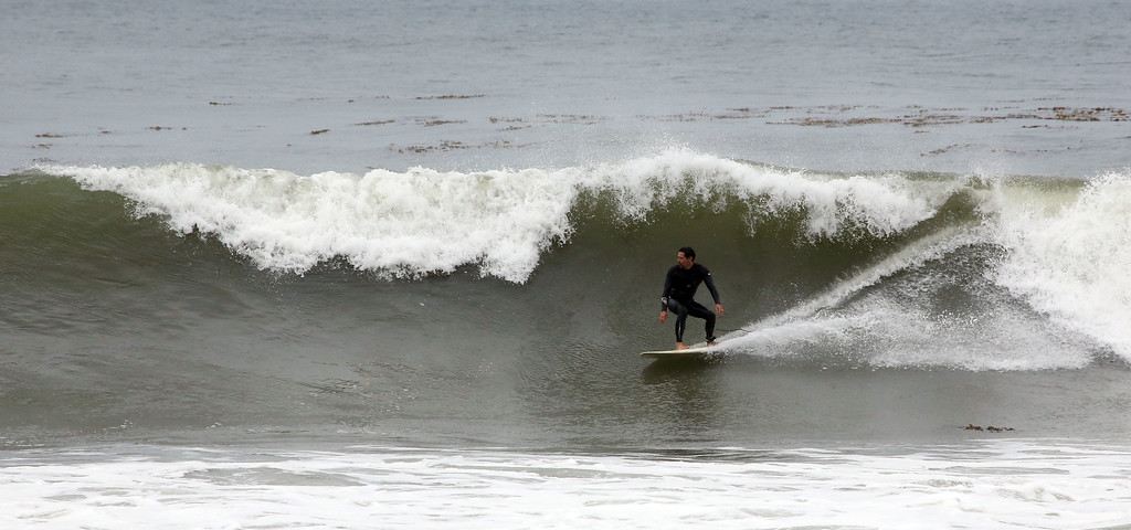. High waves pounded Cabrillo Beach in San Pedro Monday morning May 4th, 2015 as area surfers converged to take advantage of the waves. Chuck Bennett/Staff Photographer