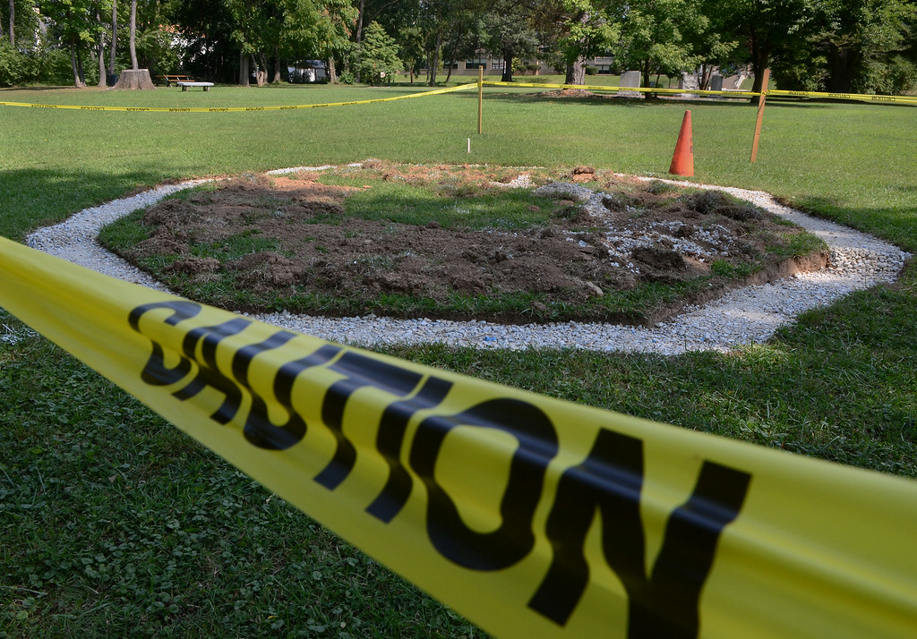 . Caution tape surrounds the area in Weingartner Park in North Wales that is slated for a gazebo on Wednesday afternon August 27,2014. Photo by Mark C Psoras/The Reporter