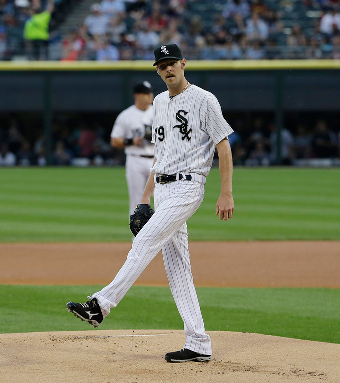 . Chicago White Sox starter Chris Sale kicks the dirt during the first  inning of a baseball game against the Detroit Tigers in Chicago on Thursday, June 12, 2014. (AP Photo/Nam Y. Huh)