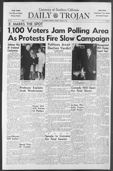 Daily Trojan, Vol. 54, No. 91, March 28, 1963
