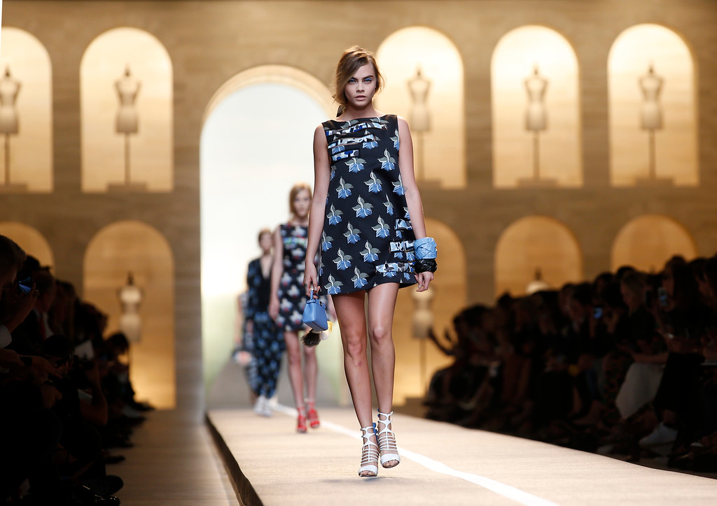 . A model wears a creation for Fendi women\'s spring-summer 2015 collection, part of the Milan Fashion Week, unveiled in Milan, Italy, Thursday, Sept. 18, 2014. (AP Photo/Luca Bruno)