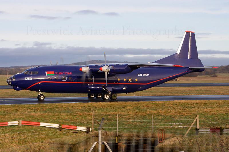 "EW-266TI. Antonov An-12BP. Ruby Star. Prestwick. 120108.  Beautiful visitor to Prestwick, using the call sign ""Ruby Star 1013"""
