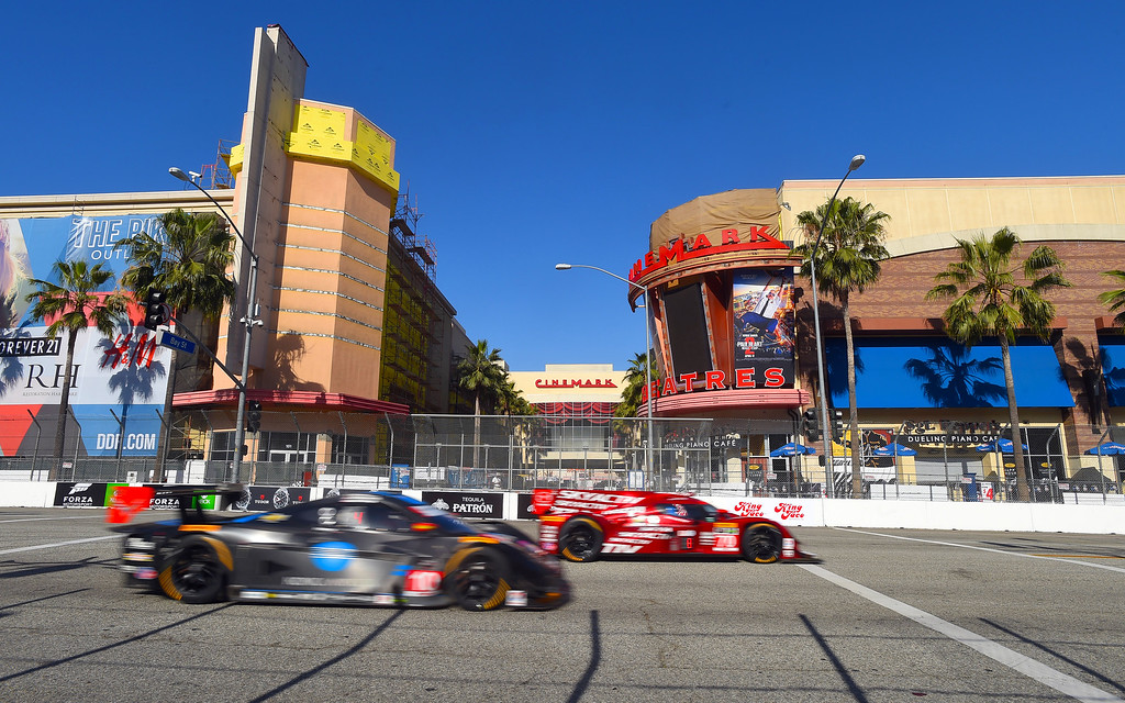 . TUDOR Championship drivers speed up Pine Avenue in Long Beach, CA on Friday, April 17, 2015. The 40th annual Toyota Grand Prix of Long Beach kicked off with practices for all of the racing divisions. (Photo by Scott Varley, Daily Breeze)