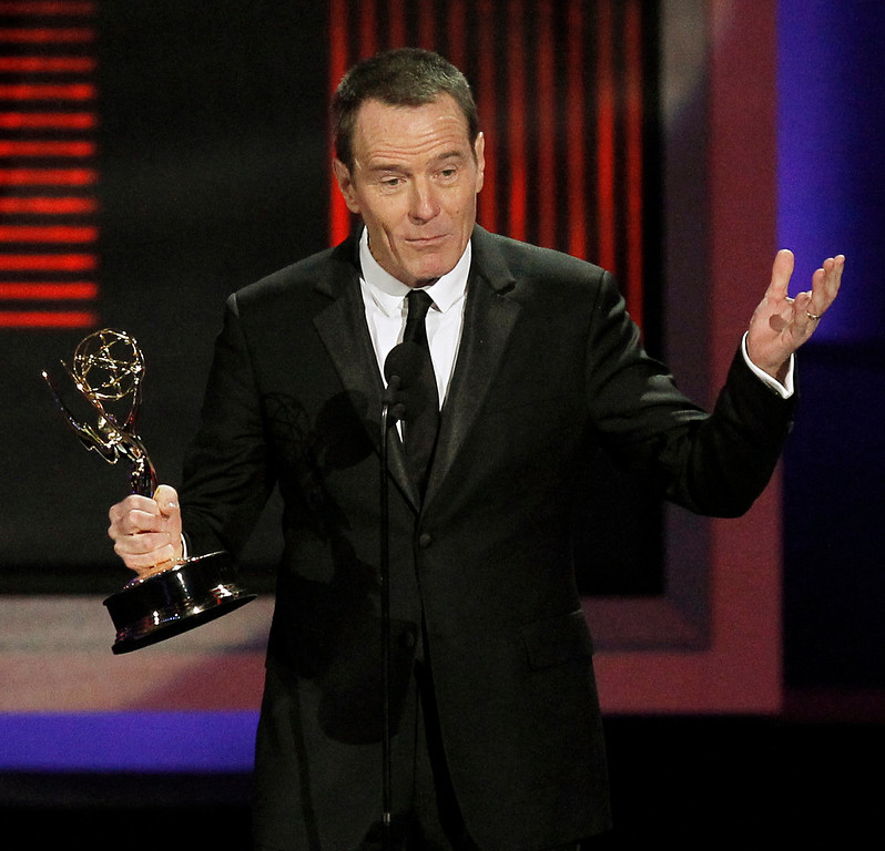 """. Bryan Cranston accepts the award for outstanding lead actor in a drama series for \""""Breaking Bad\"""" during the 62nd Primetime Emmy Awards Sunday, Aug. 29, 2010, in Los Angeles. (AP Photo/Chris Carlson)"""
