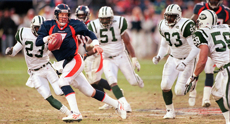 . In John Elway\'s last home game of his career, he completed only 13 of 34 passes. However, running back Terrell Davis, the NFL MVP in 1998, ran for 167 yards and a touchdown as Denver beat the Jets 23-10 in the AFC Championship game.   Denver Bronco quarterback John Elway scrambles out of trouble during the AFC Championship game against the New York Jets in Denver, Sunday, Jan. 17, 1999. After sixteen years on the run for the Bronocs Elway is expected to reitire after leading his team to it\'s fifth Super Bowl of his career. (AP Photo/David Zalubowksi)