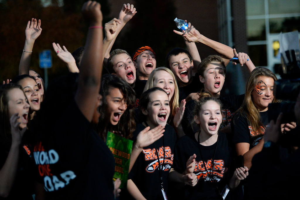 . Lakewood High School students celebrate after Katy Perry leaves from her performance at the high school, October 25, 2013. About 2,700 students and faculty attended the concert. (Photo By RJ Sangosti/The Denver Post)