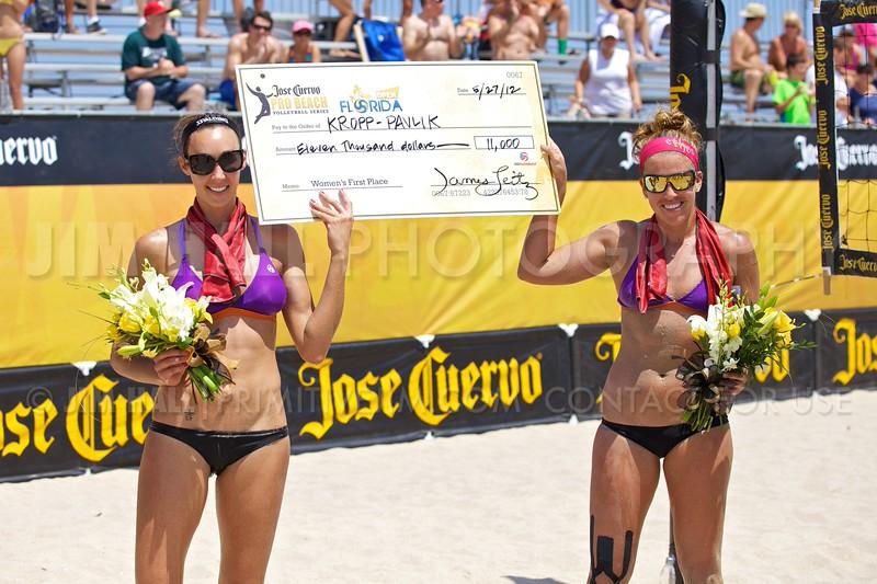 Jenny Kropp and Whitney Pavlik women's winners at the Jose Cuervo Pro Beach Volleyball, Fort Lauderdale, Florida, May 26, 2012