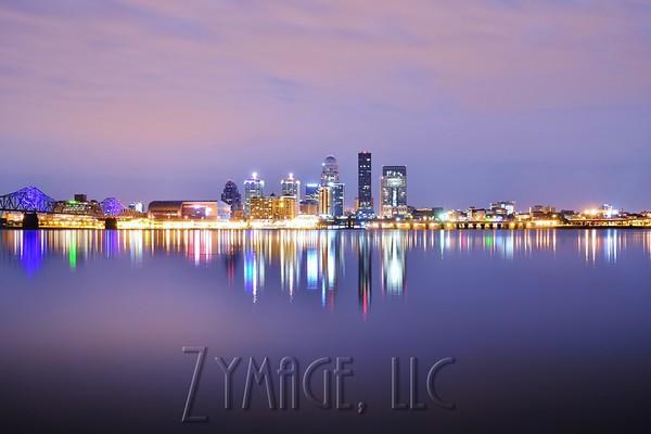Louisville, KY Skyline, Ohio River Bridges, Sunsets, Moon and Lightning Photography