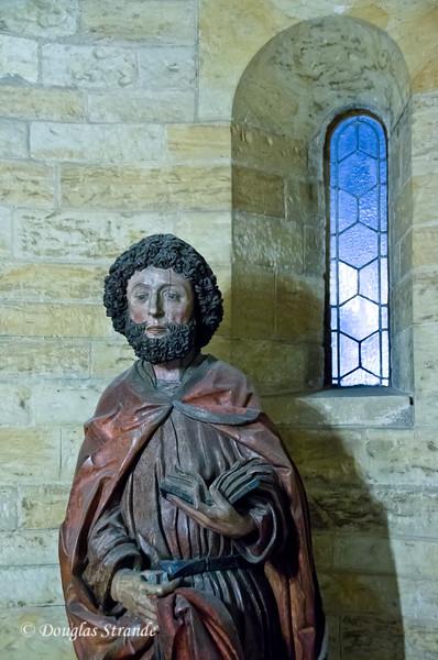Painted wooden statue at Prague Castle