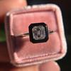 1.19ct Vintage Emerald Cut Diamond Onyx Ring, GIA E VS2 47