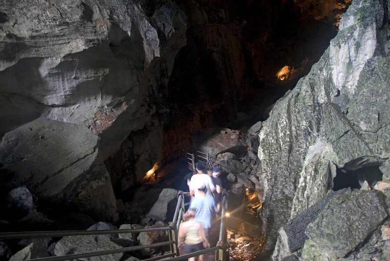 Entering onto the clear water cave in Mulu National Park - Sarawak, Malaysia