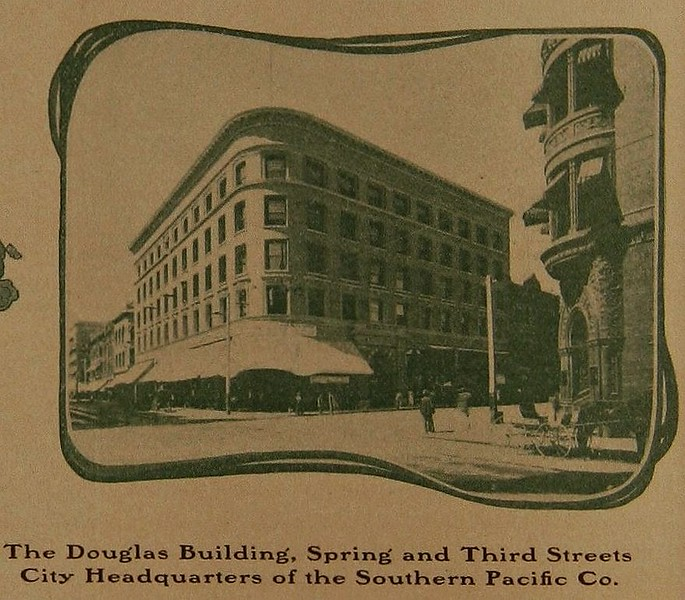 The Douglas Building. Spring and Third Street City Headquarters of the Southern Pacific Co (1906).