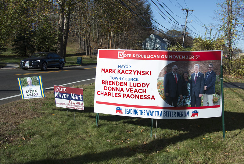 11/01/19  Wesley Bunnell | Staff  Campaign signs around Berlin, New Britain and Newington.