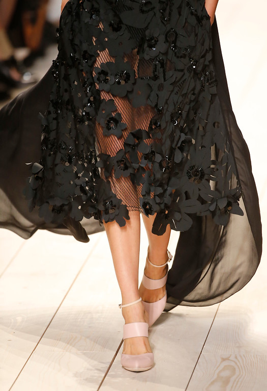 . A model wears a creation for Nina Ricci\'s Spring/Summer 2015 ready-to-wear fashion collection, presented in Paris, France, Thursday, Sept. 25, 2014.  (AP Photo/Jacques Brinon)