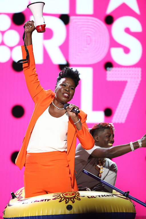 . Host Leslie Jones performs a skit at the BET Awards at the Microsoft Theater on Sunday, June 25, 2017, in Los Angeles. (Photo by Matt Sayles/Invision/AP)