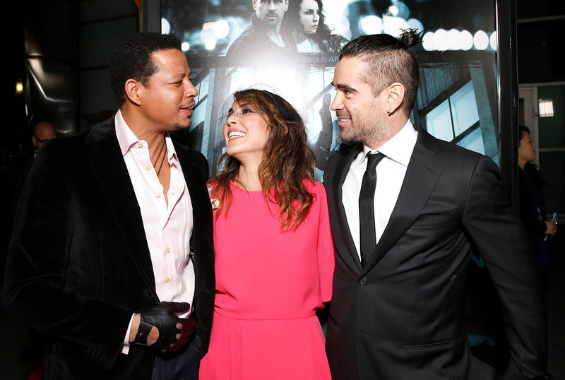 """. Terrence Howard, Noomi Rapace and Colin Farrell arrives at the world premiere of \""""Dead Man Down\"""" at the Archlight Hollywood on Tuesday , Feb. 26, 2013 in Los Angeles. (Photo by Todd Williamson/Invision/AP)"""