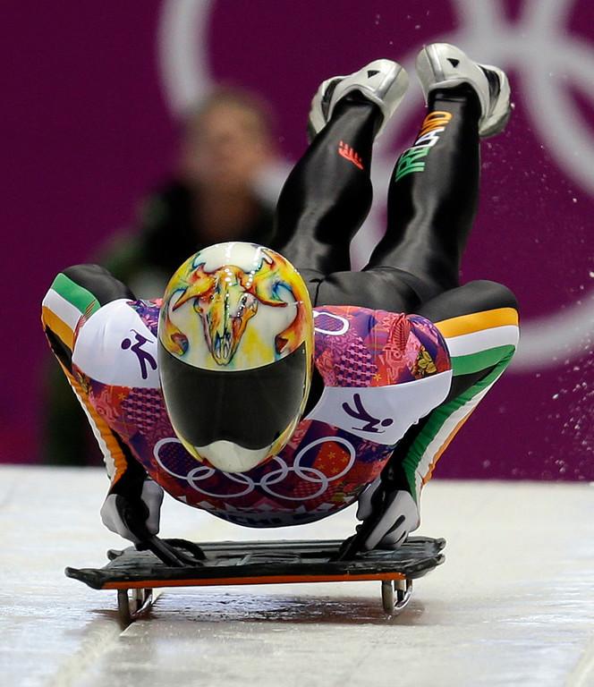 . Sean Greenwood of Ireland starts his first run during the men\'s skeleton competition at the 2014 Winter Olympics, Friday, Feb. 14, 2014, in Krasnaya Polyana, Russia. (AP Photo/Natacha Pisarenko)